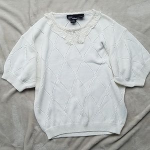 Vintage Cream Knit Collared Sweater